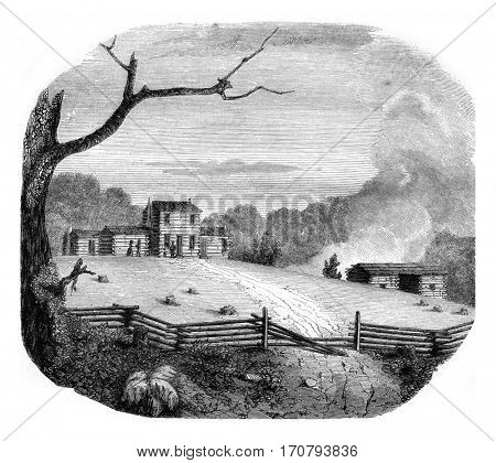American farm in the state of Kentucky, vintage engraved illustration. Magasin Pittoresque 1846.
