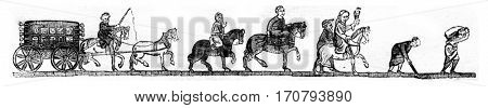 Chariot shaking car or suspended, Cheyal traveler, merchant base, Hunter, Muddy, flour carrier, vintage engraved illustration. Magasin Pittoresque 1846.
