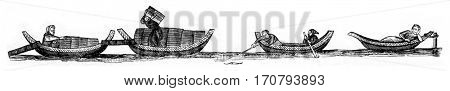Wooden boats, Parisian boats, vintage engraved illustration. Magasin Pittoresque 1846.