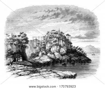 View of the convent of Our Lady of Good Voyage in the Bay of Rio de Janeiro, vintage engraved illustration. Magasin Pittoresque 1846.