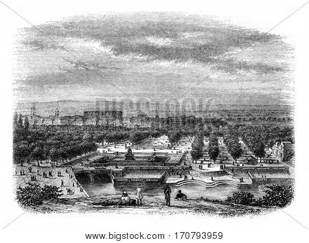View of the city of Nimes, taken from the Garden of the Baths of Augustus, vintage engraved illustration. Magasin Pittoresque 1846.