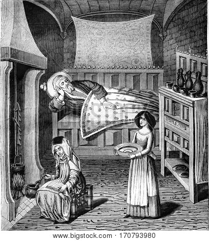 A room in the fifteenth century, vintage engraved illustration. Magasin Pittoresque 1846.