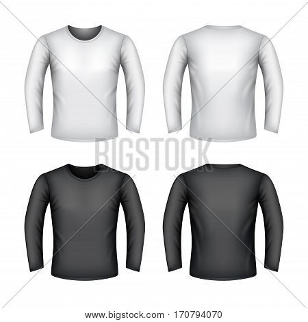 Male sweatshirt isolated on white photo-realistic vector illustration