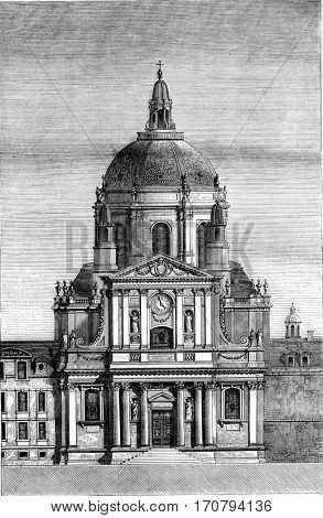 Church of the Sorbonne, Paris, vintage engraved illustration. Magasin Pittoresque 1846.