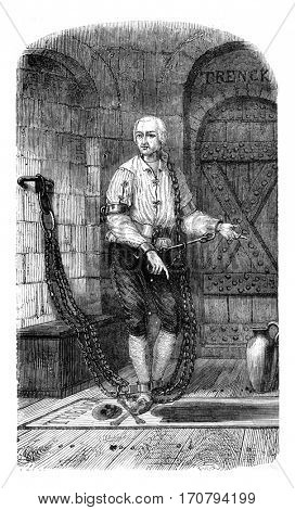 Baron Friedrich von der Trenck in his cell, a Magdeburg, vintage engraved illustration. Magasin Pittoresque 1846.