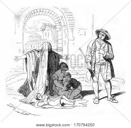 A Beggar, by Pinelli, vintage engraved illustration. Magasin Pittoresque 1846.