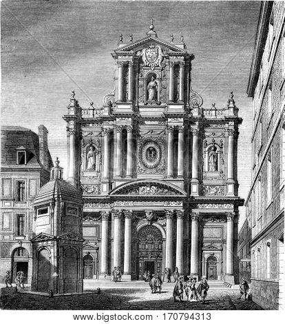 Church of Saint Louis, now Saint Paul, street Saint Antoine, Paris, vintage engraved illustration. Magasin Pittoresque 1846.