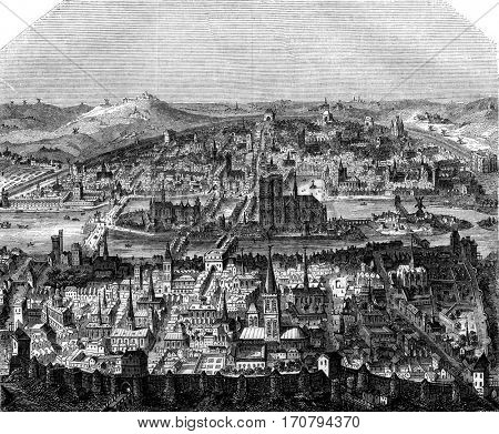 View of Paris, after a print of the late sixteenth century, vintage engraved illustration. Magasin Pittoresque 1845.