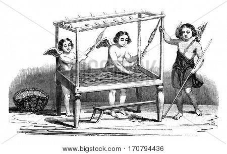 Weavers, vintage engraved illustration. Magasin Pittoresque 1845.