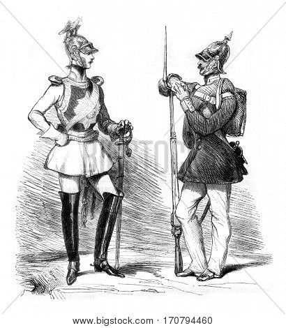 New costumes for the Prussian army, Cavalry and infantry, vintage engraved illustration. Magasin Pittoresque 1845.