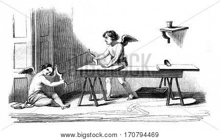 Carpentry workshop, vintage engraved illustration. Magasin Pittoresque 1845.