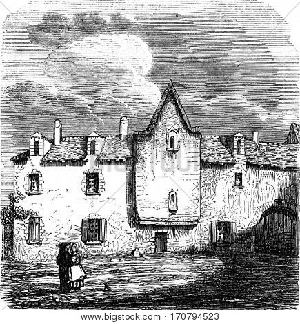 House or Descartes is, in the Haye-Descartes, department of Indre-et-Loire, vintage engraved illustration. Magasin Pittoresque 1845.