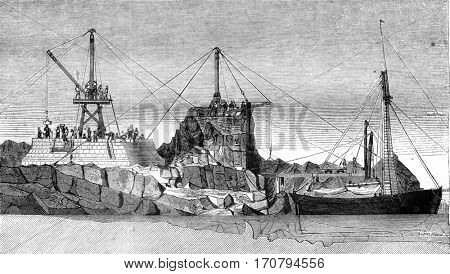 For the provision of work for the construction of the full tower massif, vintage engraved illustration. Magasin Pittoresque 1845.