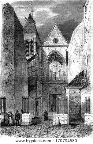Portal of the church Saint Medard, vintage engraved illustration. Magasin Pittoresque 1845.