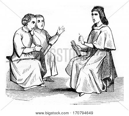Listeners, Fourteenth century, vintage engraved illustration. Magasin Pittoresque 1845.