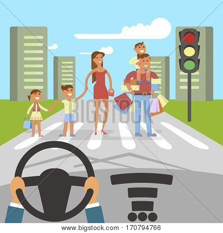 Happy Family concept. Father and mother with kids are crossing the roadway. Flat style cartoon vector illustration with isolated characters on big town background. Vector illustration eps 10