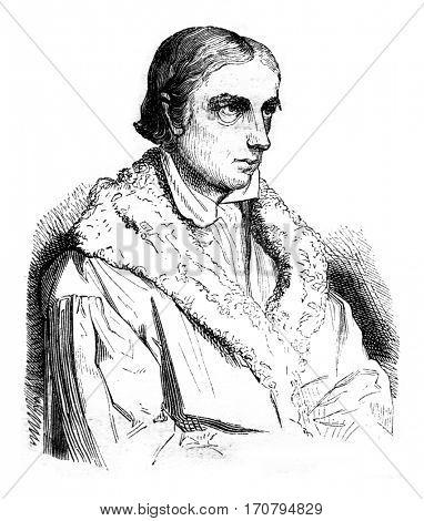 Bernhard Heinrich Overberg, vintage engraved illustration. Magasin Pittoresque 1845.
