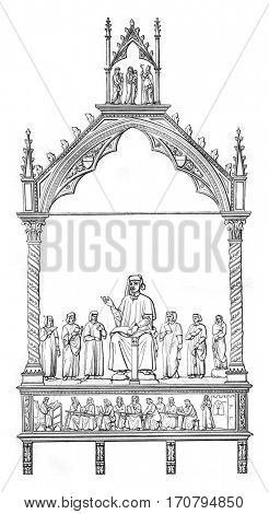 Tomb of Cino da Pistoia, by Andre of Pisa, in the church cathedral of Pistoia, Fourteenth century, vintage engraved illustration. Magasin Pittoresque 1845.