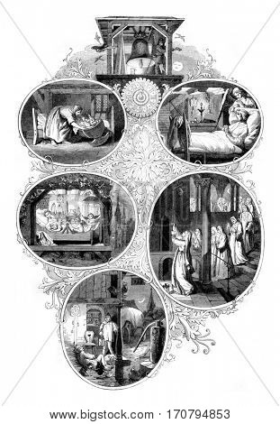 The nuns are preparing to go to matins, The wind is blowing, The moon rises, God knows everything, vintage engraved illustration. Magasin Pittoresque 1845.