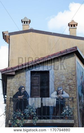 Murals wall painting in Fonni, Sardinia, Italy