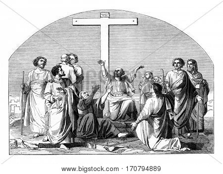 The Departure of the Apostles, vintage engraved illustration. Magasin Pittoresque 1845.