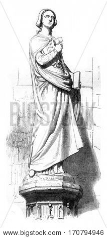 Statue of Sabina, was the cathedral of Strasbourg, vintage engraved illustration. Magasin Pittoresque 1845.