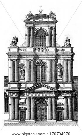 Portal of the church of Saint Gervais, in Paris, beginning in 1616, vintage engraved illustration. Magasin Pittoresque 1845.