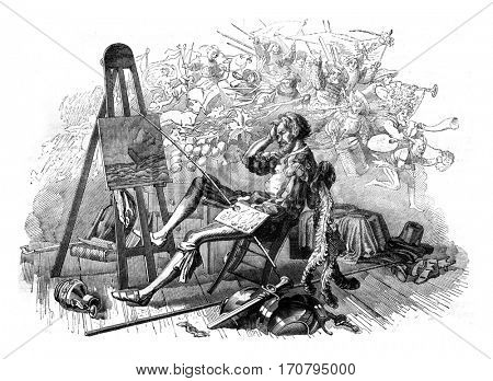 Reverie of the painter, vintage engraved illustration. Magasin Pittoresque 1845.