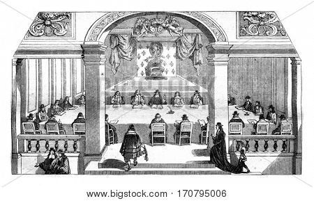 Hall of sessions of the Academie francaise, the Louvre, the eighteenth century, vintage engraved illustration. Magasin Pittoresque 1845.