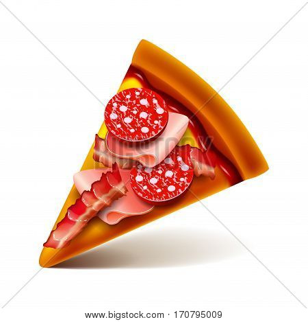 Meat pizza slice isolated photo-realistic vector illustration