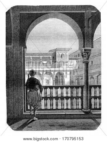 Inside view of the Casbah in Algiers, View of the gallery and was the flag or kicks fan, vintage engraved illustration. Magasin Pittoresque 1845.