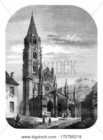 View of the church of Saint Pere, near Vezelay, vintage engraved illustration. Magasin Pittoresque 1845.