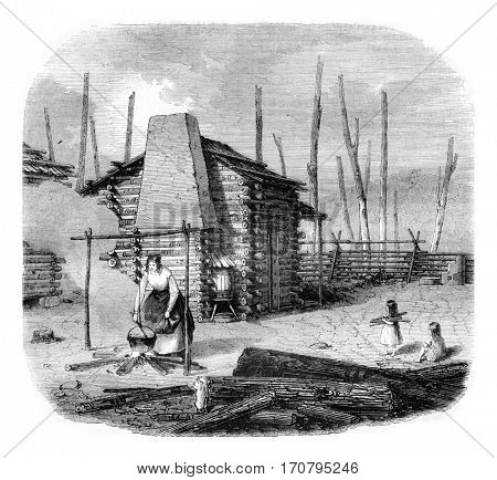 Hut American pioneers, vintage engraved illustration. Magasin Pittoresque 1844.