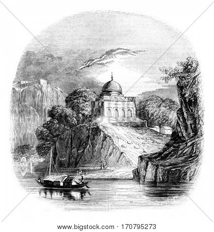 A landscape of Bundelkhand in Hindustan, vintage engraved illustration. Magasin Pittoresque 1844.