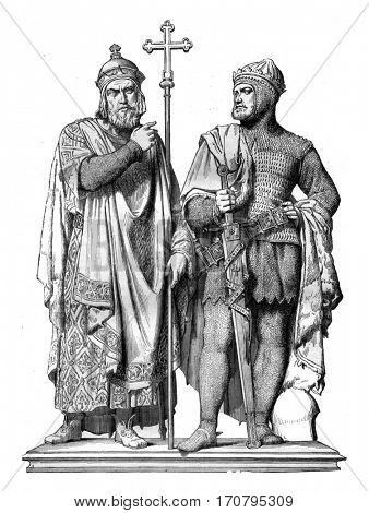 First Miecislas and Boleslaw the Great Bronze group by Rauch, in the Cathedral of Poznan, a city of the Prussian states, vintage engraved illustration. Magasin Pittoresque 1845.