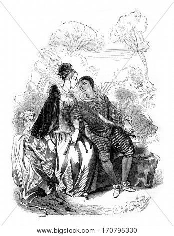 Museum of Rennes, School Watteau, vintage engraved illustration. Magasin Pittoresque 1844.