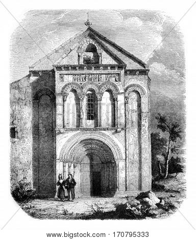 Church of Loupiac, the department of Gironde, vintage engraved illustration. Magasin Pittoresque 1844.
