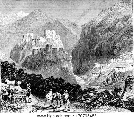 Mount Amanus. View of a castle in ruins, vintage engraved illustration. Magasin Pittoresque 1844.