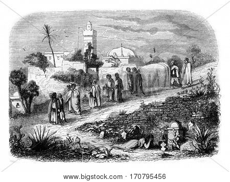 Burial in Algeria, vintage engraved illustration. Magasin Pittoresque 1844.