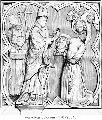 Sainte Valerie carrying his head to St. Martial, High relief from the tomb of Bernard Brown, vintage engraved illustration. Magasin Pittoresque 1842.