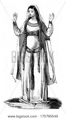 Fifth century, Rich woman, and after Montfaucon, vintage engraved illustration. Magasin Pittoresque 1842.
