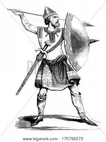 Norman soldier, after a manuscript of Strutt, vintage engraved illustration. Magasin Pittoresque 1842.