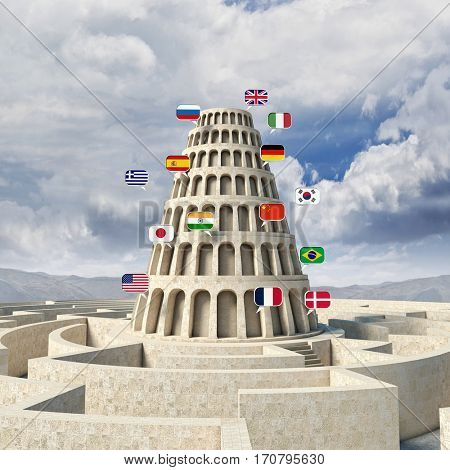 babel tower concept 3d rendering