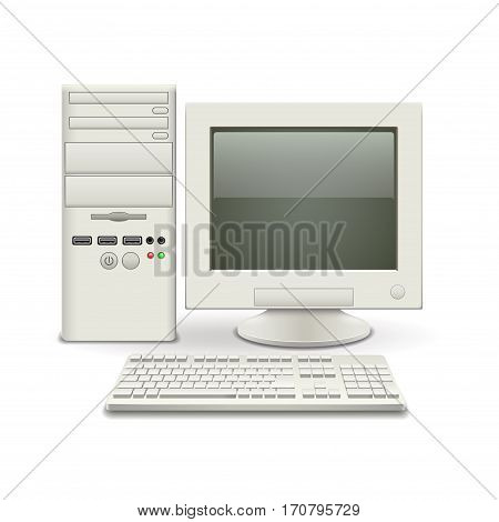 Old computer isolated on white photo-realistic vector illustration