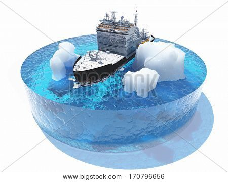 Model Sea and icebreaker on a white background..,3d render