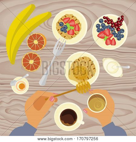 Person is eating breakfast with waffles, fruit, honey and cup of coffe on wooden table. Top view Vector illustration eps 10