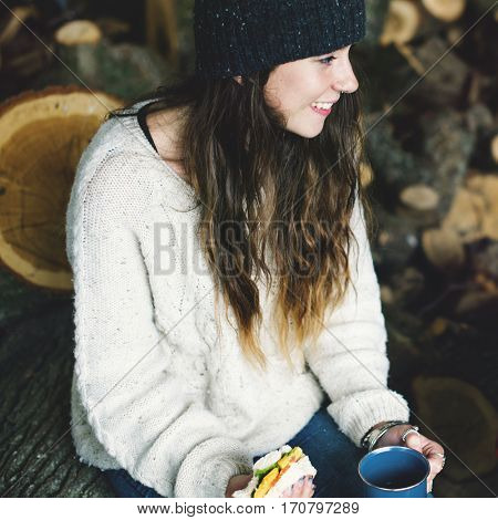 Woman Smiling Sandwich Camping Sawmill Relaxation Concept