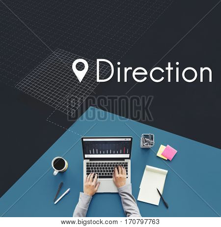 Direction Find Route Navigation Concept