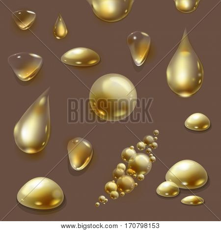 The raster version set of oil design elements. Collection of transparent gold water drops and bubbles.