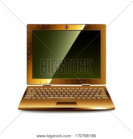 Steampunk laptop isolated on white photo-realistic vector illustration